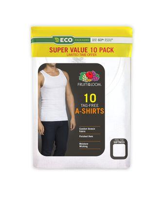 Men's White Short Sleeve A-Shirt, 10 Pack