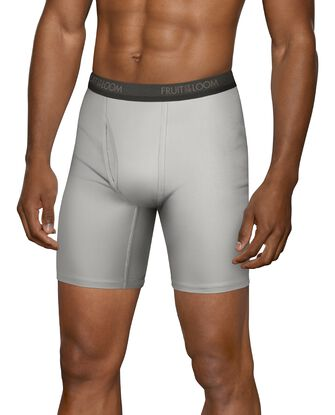 Men's Micro-Stretch Black and Gray Long Leg Boxer Briefs, 4 Pack, Size 2XL
