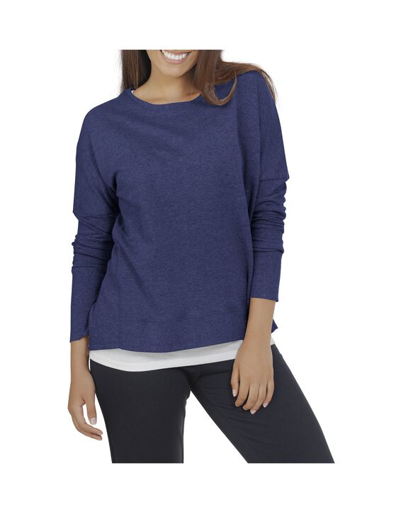 Women's Essentials Long Sleeve French Terry Top, 1 Pack T Blue Heather