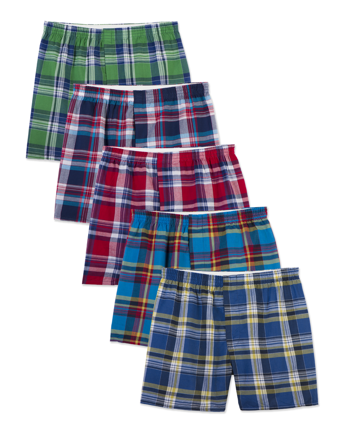 Men's Woven Plaid Tartan Boxers, 5 Pack