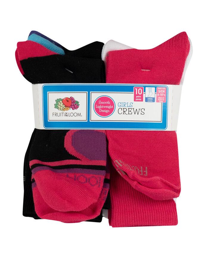 Girls' Soft Lightweight Crew Socks, 10 Pack BLACK/PURPLE, BLACK, BLACK/BLUE, BLACK/PINK, LT GREY, WHITE, PINK