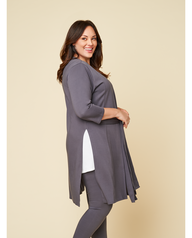 Women's Seek No Further Plus Size Ponte Open Front Long Cardigan Charcoal