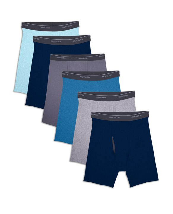 Men's CoolZone Fly Assorted Boxer Briefs, Extended Sizes, 6 Pack ASSORTED