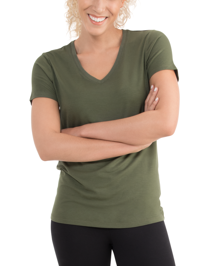 Women's  Seek No Further Short Sleeve V-Neck T-shirt Military Green