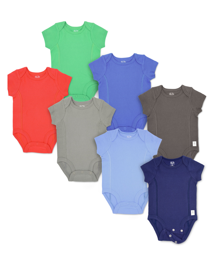 Baby Boys' Short Sleeve Grow & Fit Bodysuits, 7 Pack