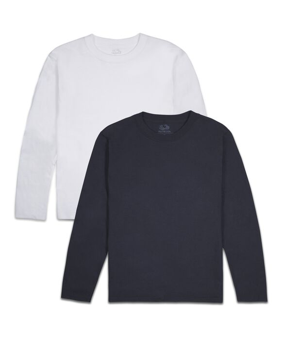 Boys' Super Soft Solid Multi-Color Long Sleeve T-Shirts, 2 Pack Basic Asst.