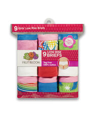 Girls' 9 Pack Assorted Color Low Rise Brief Assorted