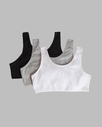 Girls' Cotton Stretch Sports Bra, 3 Pack