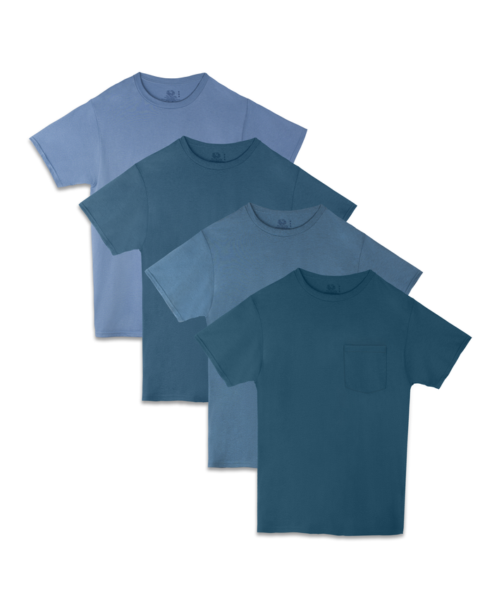 Men's 4 Pack Tonal Blue Pocket T-Shirt
