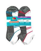 Men's Breathable Low Cut Socks, 8 Pack, Size 6-12 WHITE/GREEN, WHITE/GREY, WHITE/BLUE, WHITE/RED, WHITE/YELLOW