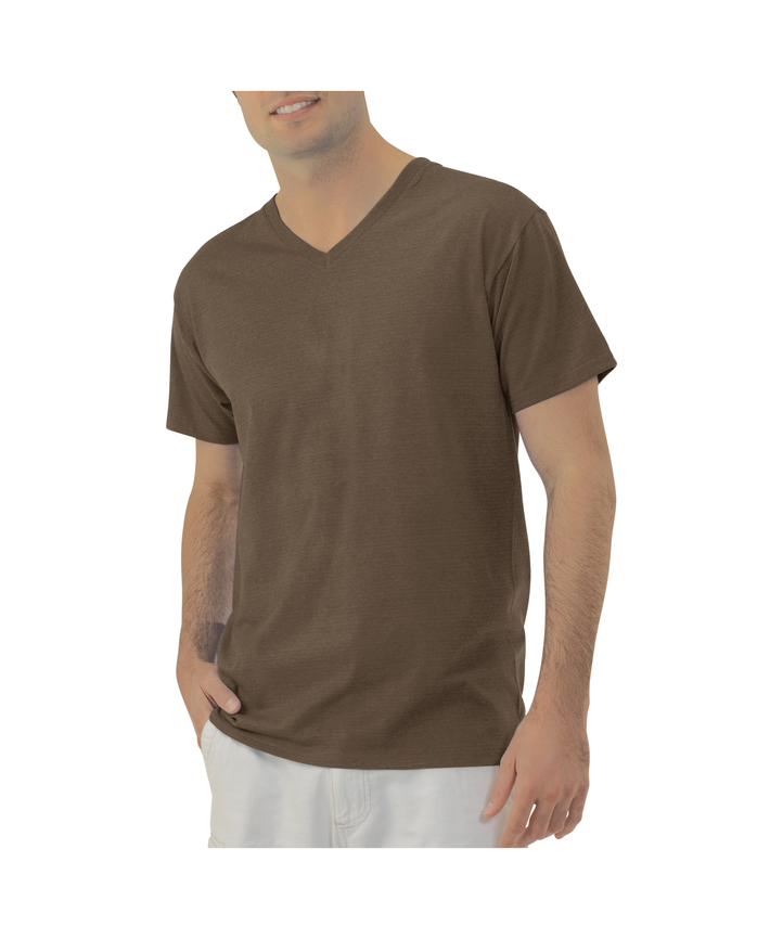 Men's EverSoft V-Neck T-Shirt, 1 Pack Java Heather