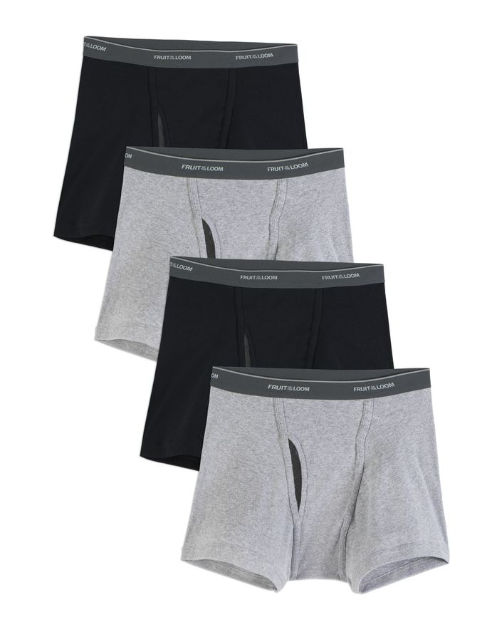 Men's COOLZONE Black/Gray Short Leg Boxer Briefs, 4 Pack, Extended Sizes
