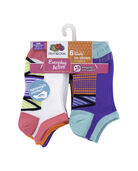 Girls' Everyday Active Arch Support No Show Socks, 6 Pack WHITE/PINK, WHITE/CORAL, WHITE/PURPLE, PURPLE/BLUE, PINK/GREEN, CORAL/BLUE