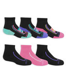 Girls' Active Cushioned Ankle Socks, 6 Pack BLACK/GREEN, BLACK/PURPLE, BLACK/PINK, BLACK, PINK