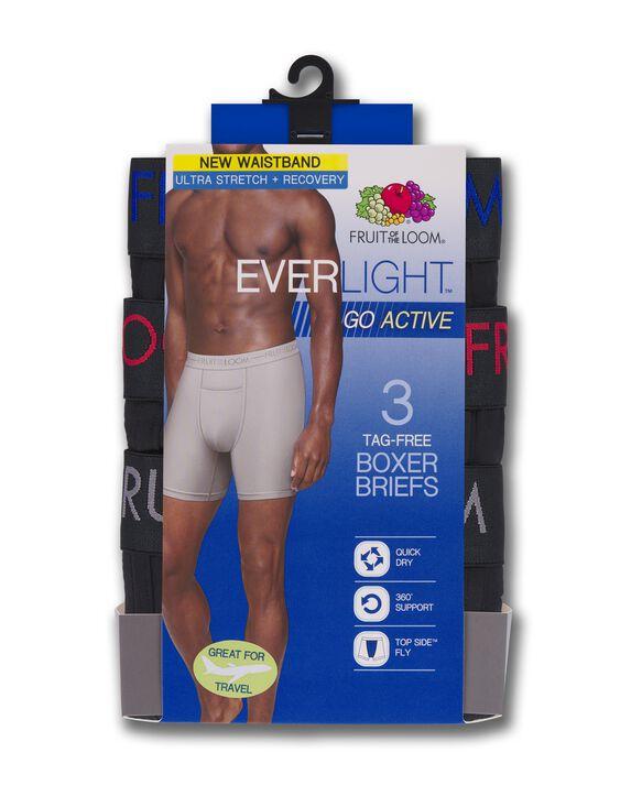 Men's EverLight Go Active Black Boxer Briefs, 3 Pack ASSORTED