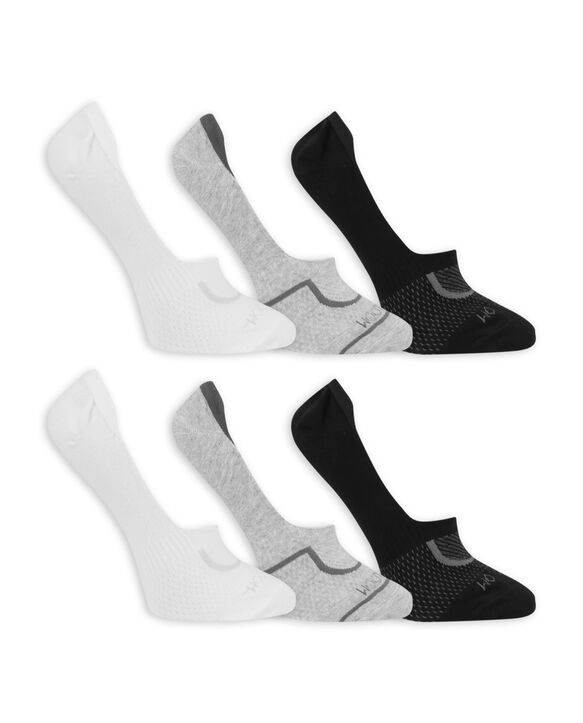 Women's CoolZone Cotton Lightweight Liners, 6 Pack WHITE, GREY, BLACK