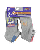 Women's Active No Show Socks, 6 Pack, Size 4-10 GREY/TEAL, GREY/PINK, GREY/ORANGE
