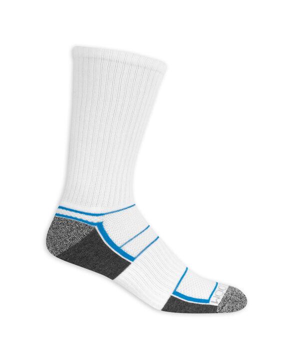 Men's Breathable Crew Socks,  8 Pack, Size 6-12 WHITE/BLUE, WHITE/GREY, WHITE/YELLOW, WHITE/LIME, WHITE/ORANGE