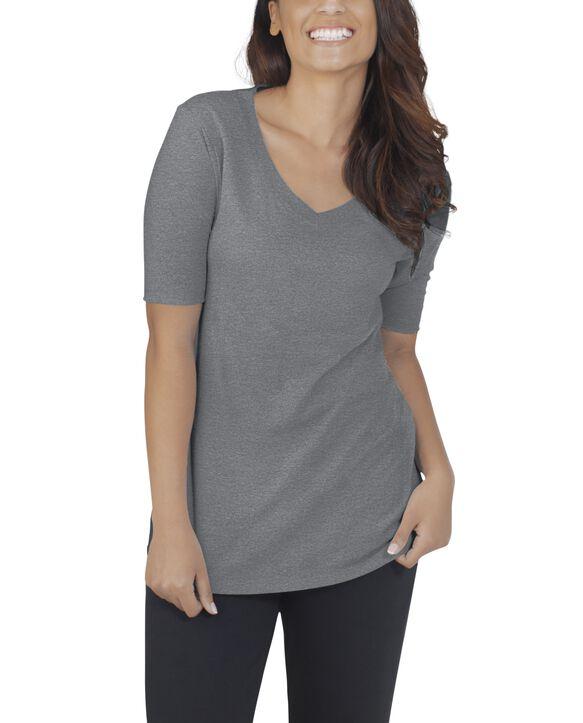 Women's Essentials Elbow Length V-Neck T-Shirt, 1 Pack Oxford