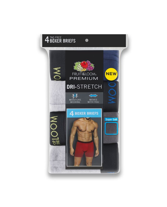 Men's Premium Dri-Stretch Boxer Brief - Black Gray, 4 Pack