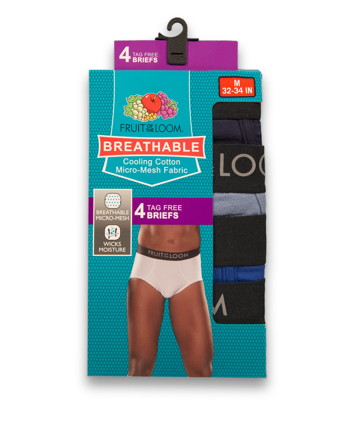 Men's Breathable Assorted Briefs , 4 Pack, Size 2XL Assorted