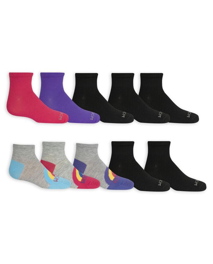 Girls' Lightweight Ankle Socks, 10 Pack GREY/PINK, BLACK, GREY/BLUE, GREY/PURPLE, PURPLE, BLUE, PINK