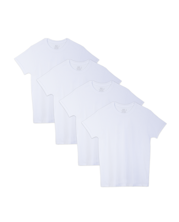 Men's Beyondsoft White Crew Neck T-Shirts, 4 Pack, Extended Sizes