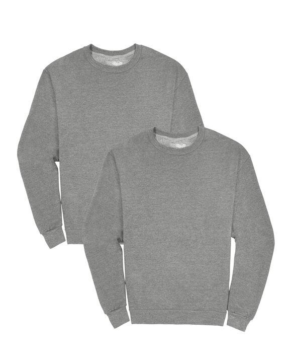 Men's EverSoft Fleece Crew Sweatshirt, 2 Pack MED GREY HEATHER