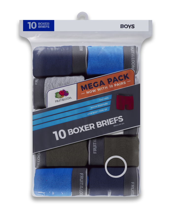 Boys' Assorted Boxer Briefs, Mega Value 10 Pack