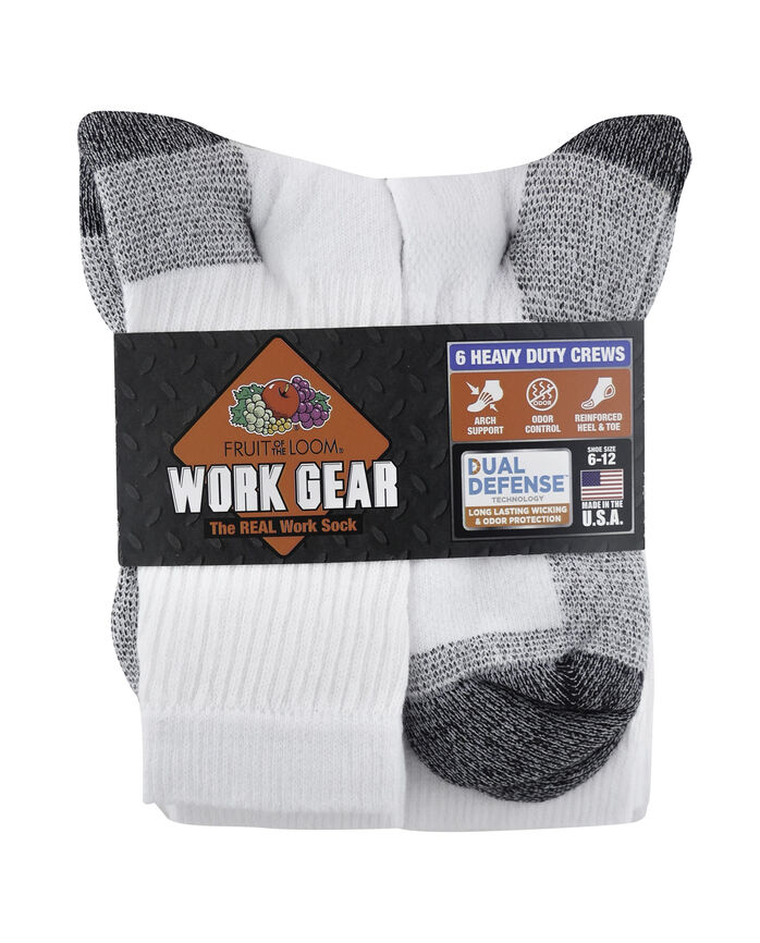 Men's Work Gear Crew Socks, 6 Pack WHITE/BLACK