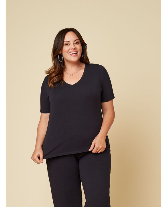 Women's Seek No Further Plus Size Short Sleeve V-Neck T-Shirt True Black