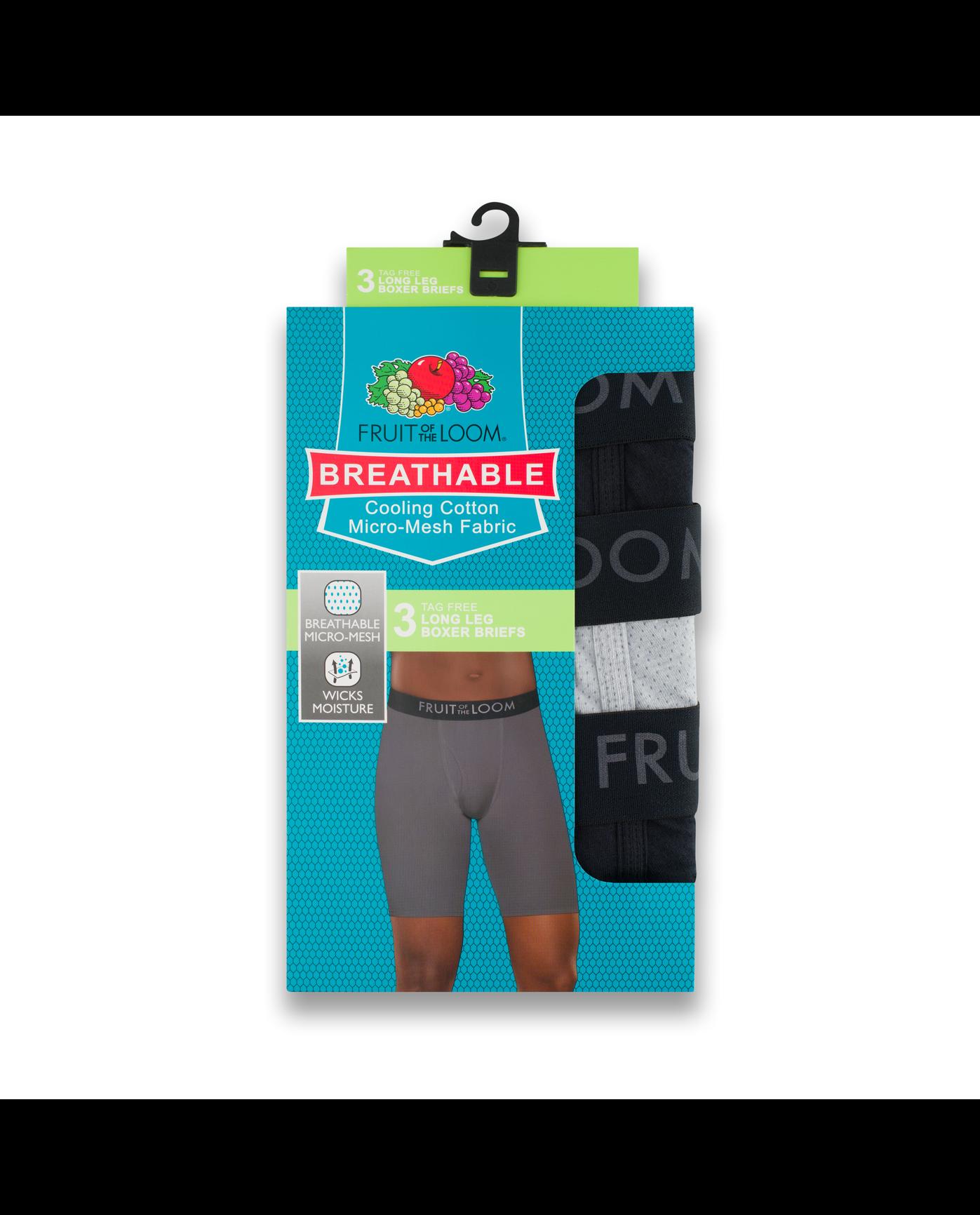 ... Men s 3 Pack Breathable Long Leg Boxer Brief Assorted c9fb966e08
