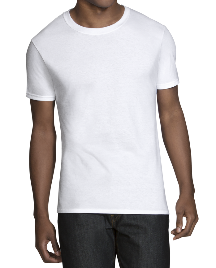 Men's Dual Defense® Tapered Crew Neck T-Shirts, 6 Pack White