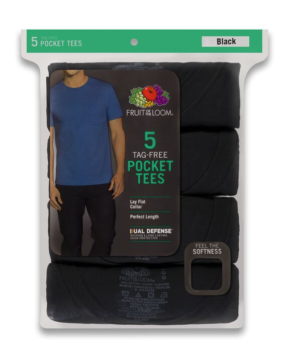 Men's Short Sleeve Assorted Pocket T-Shirts, 5 Pack ASSORTED
