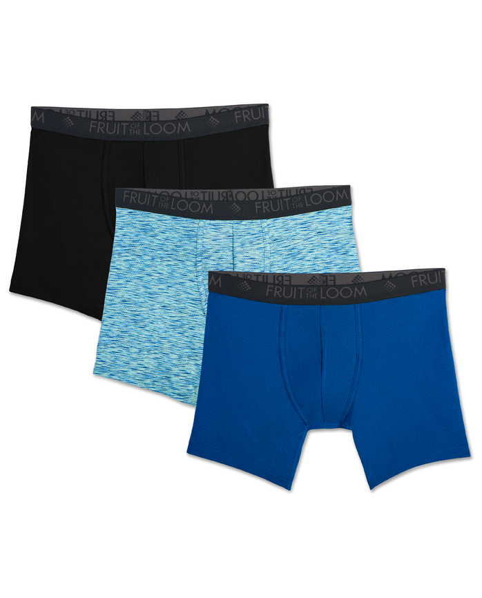 Men's Breathable Lightweight Micro-Mesh Print/Solid Boxer Briefs, 3 Pack