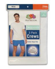 Men's Tall Man White Crew Neck T-Shirts, 3 Pack White
