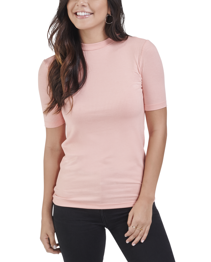 Women's Seek No Further Mock Neck Rib T-Shirt