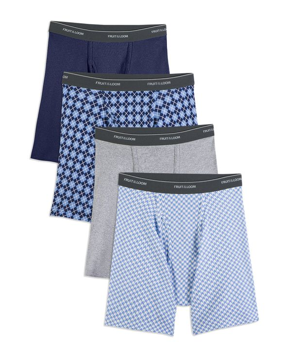 Men's CoolZone Fly Argyle and Solid Boxer Briefs, Extended Sizes, 4 Pack