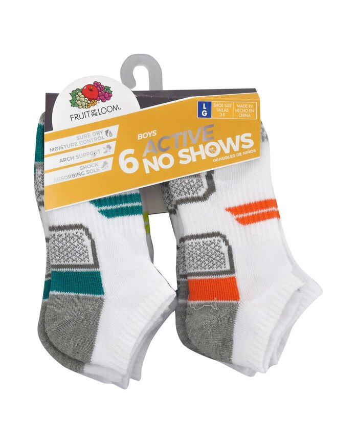 Boys' Active Cushioned No Show Socks, 6 Pack