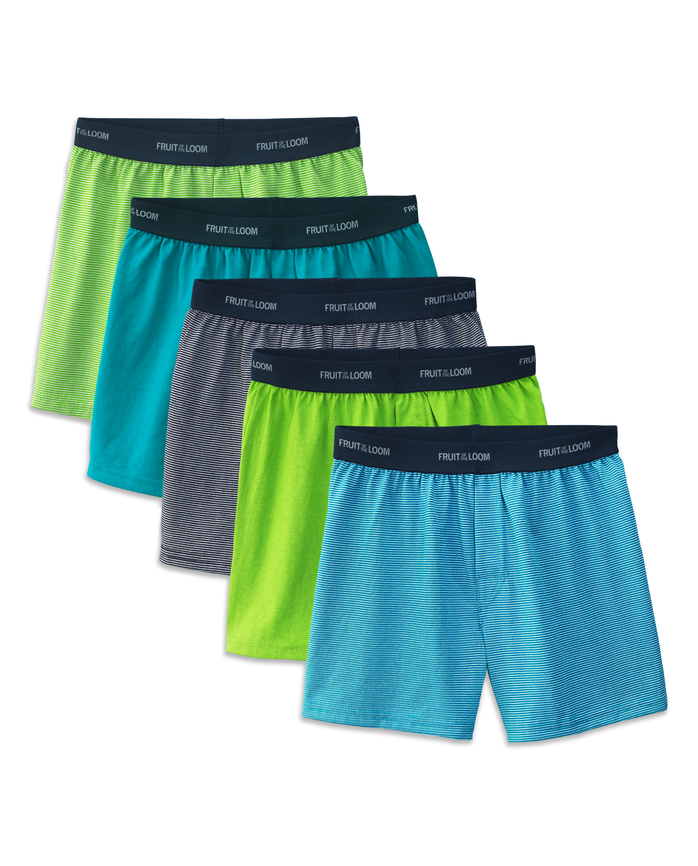 Fruit of the Loom Boys' 5pk Solid/Stripe Knit Boxers - Assorted Colors