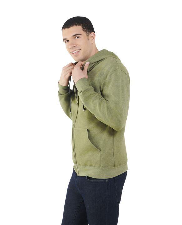 Big Men's EverSoft Fleece Full Zip Hoodie Jacket, 1 Pack Green Army Heather