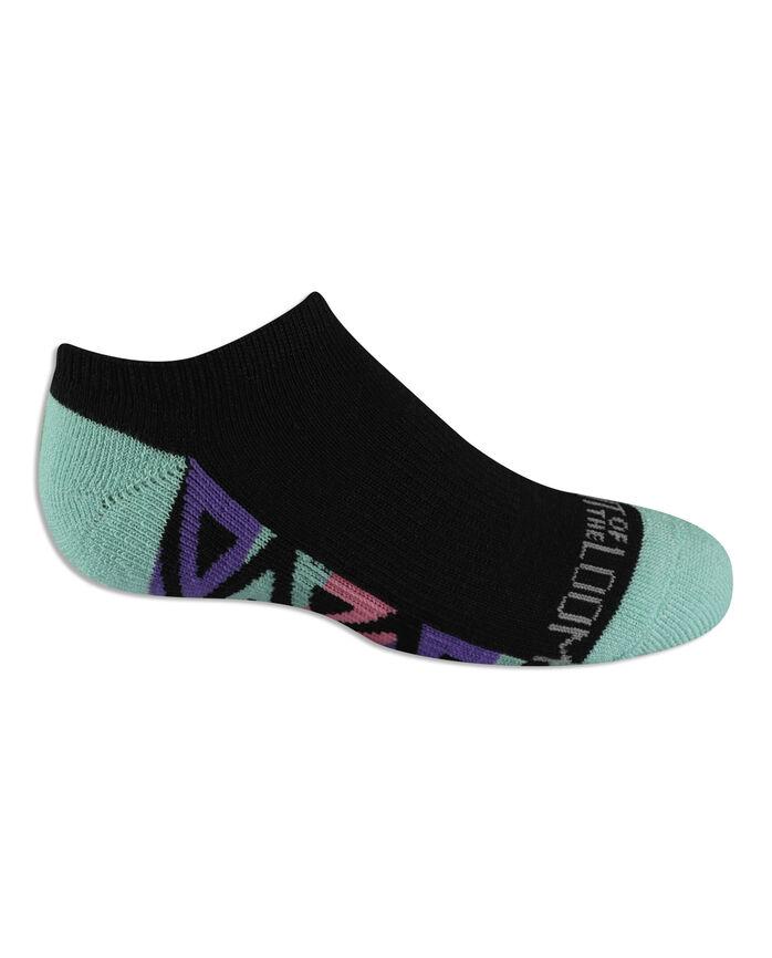Girls' Everyday Active No Show Socks , 6 Pack, Size 10.5-4 BLACK/PINK, BLACK/BLUE, BLACK/PURPLE, BLACK/GREEN