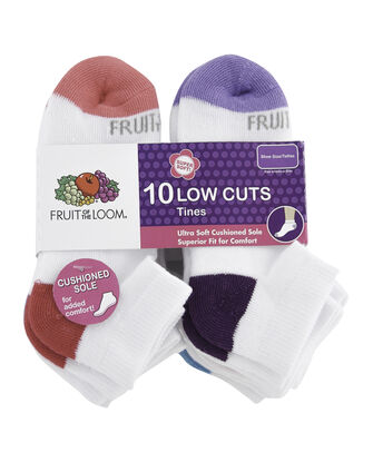 Girls' Everyday Soft Cushioned Low Cut Socks, 10 Pack, Size 10.5-4