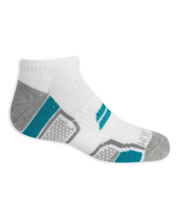 Boys' Active Cushioned No Show Socks, 6 Pack BRIGHT WHITE/LAPIS, BRIGHT WHITE/GREY,BRIGHT WHITE/LIME PUNCH, BIRGHT WHITE/FLAME, BRIGHT WHITE/GREY, BRIGHT WHITE/VIVID BLUE