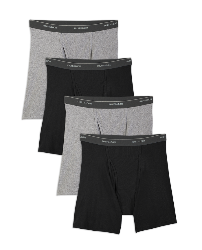Big Men's Black/Gray Boxer Briefs, 4 Pack Extended Sizes