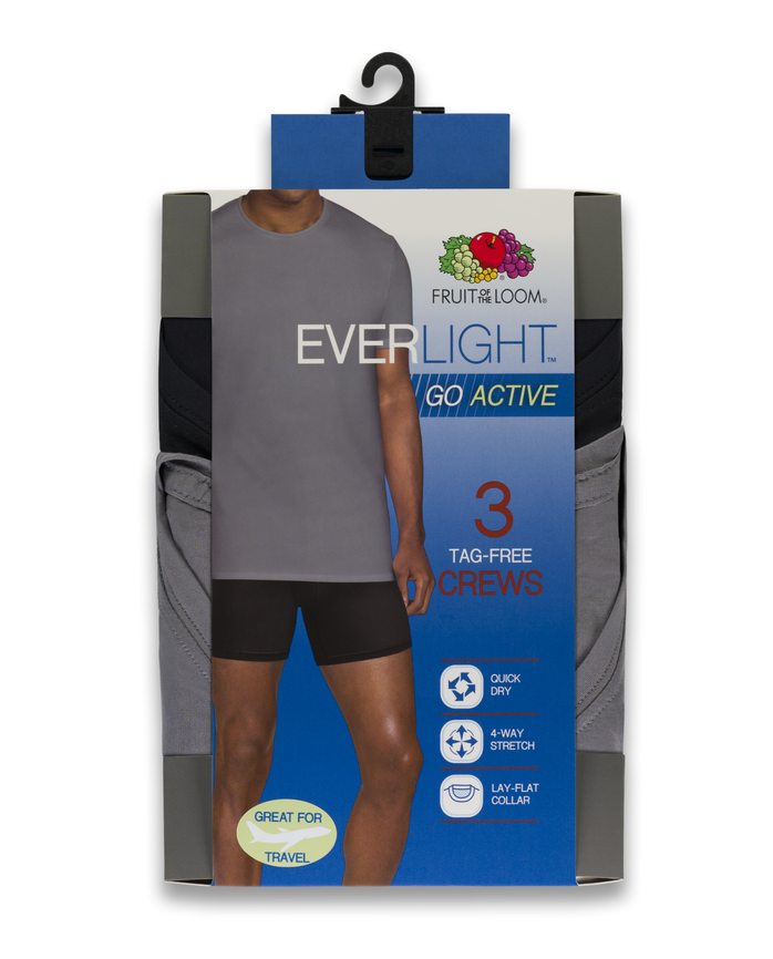 Men's EverLight Go Active Black/Gray Crew Neck T-Shirts, 3 Pack