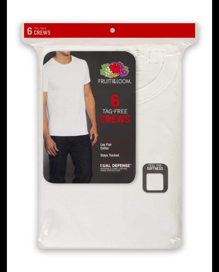 Men's Dual Defense® White Crew Neck T-Shirts, 6 Pack White
