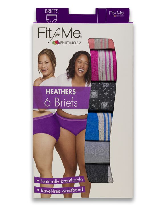 Women's Plus Fit for Me Heather Brief Panty, 6 Pack ASSORTED