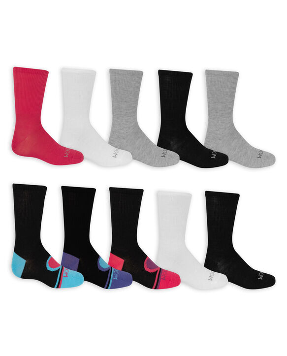 Girls' Soft Lightweight Crew Socks, 10 Pack BLACK/PURPLE, BLACK, BLACK/BLUE, BLACK/PINK, LT GREY, WHITE, PINK