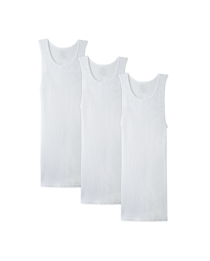 Men's Dual Defense® White A-Shirts, 3 Pack